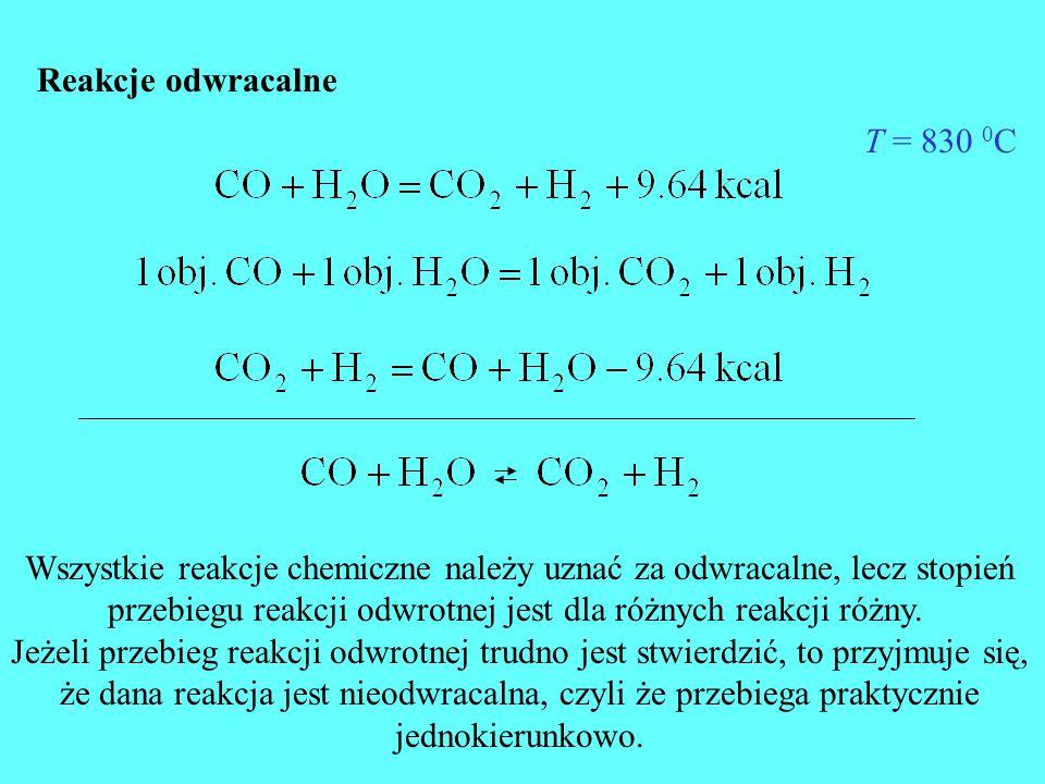 Wszystkie reakcje chemiczne należy uznać za odwracalne, lecz stopień