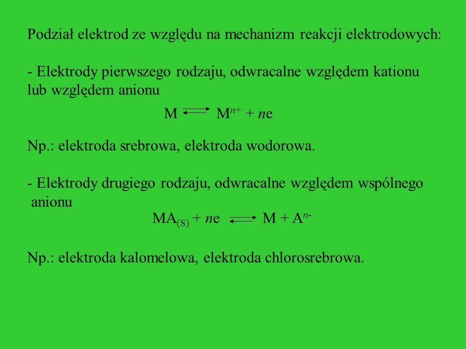 Podział elektrod ze względu na mechanizm reakcji elektrodowych: