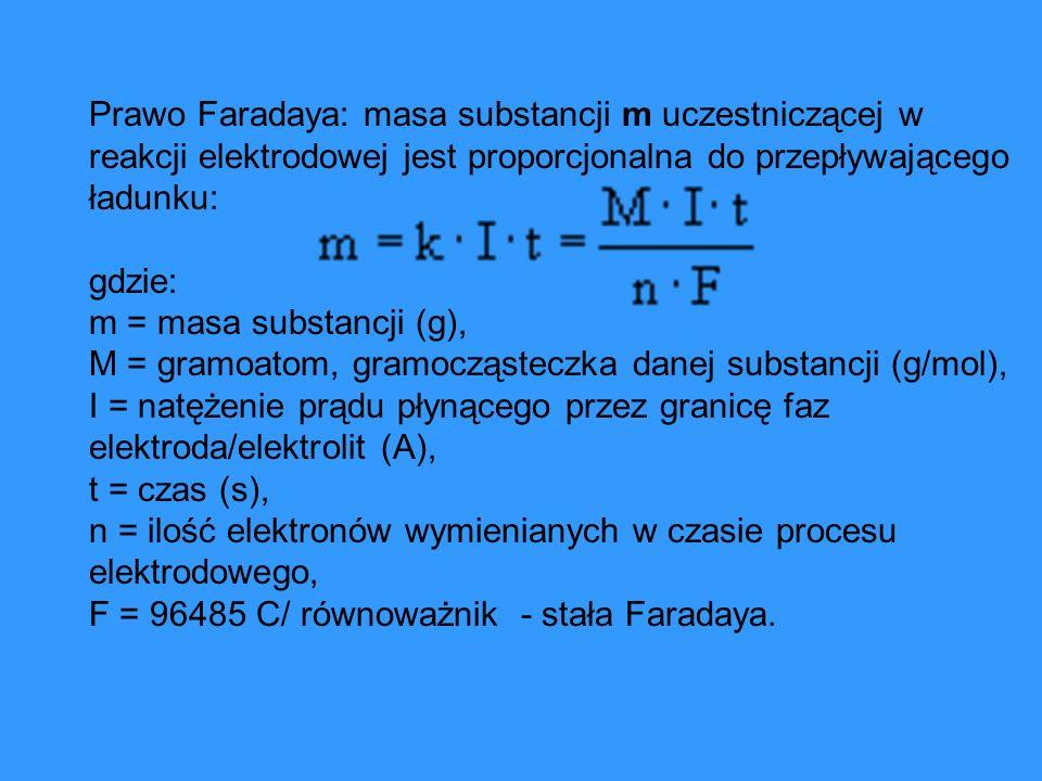 Prawo Faradaya: masa substancji m uczestniczącej w reakcji elektrodowej jest proporcjonalna do przepływającego ładunku: