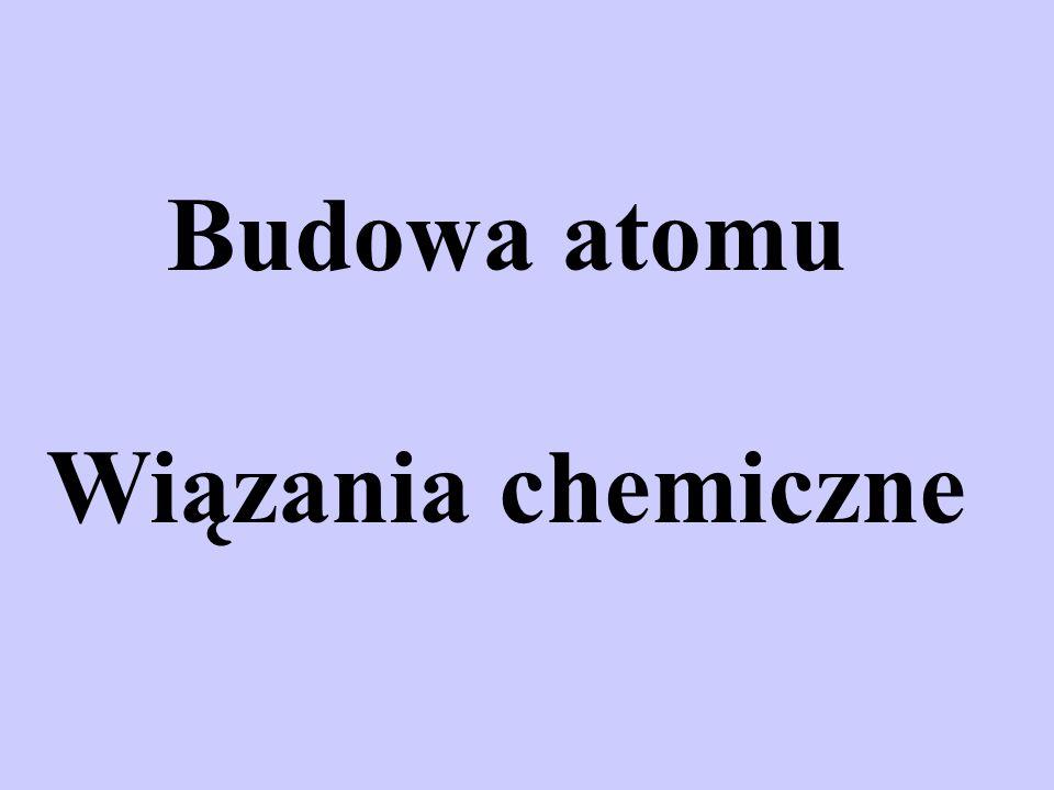 Budowa atomu Wiązania chemiczne