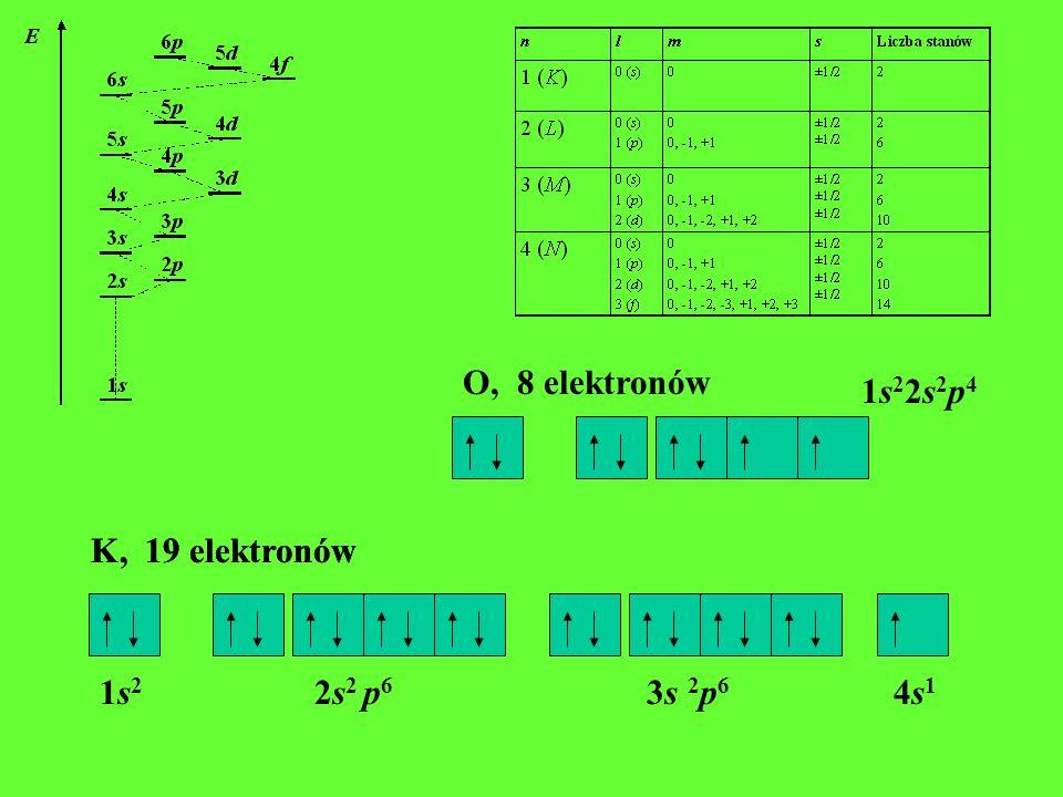 O, 8 elektronów 1s22s2p4. K, 19 elektronów.