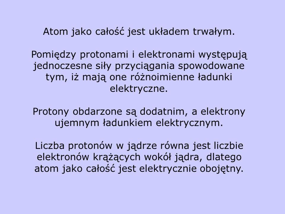 Atom jako całość jest układem trwałym.