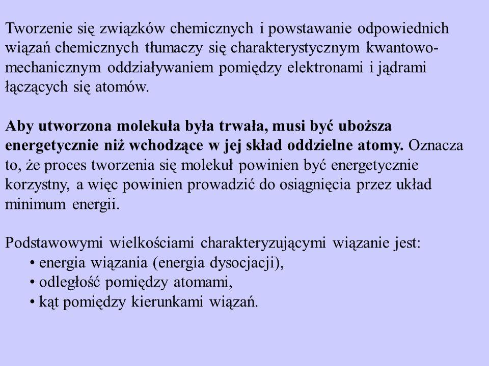 Tworzenie się związków chemicznych i powstawanie odpowiednich wiązań chemicznych tłumaczy się charakterystycznym kwantowo-mechanicznym oddziaływaniem pomiędzy elektronami i jądrami łączących się atomów.