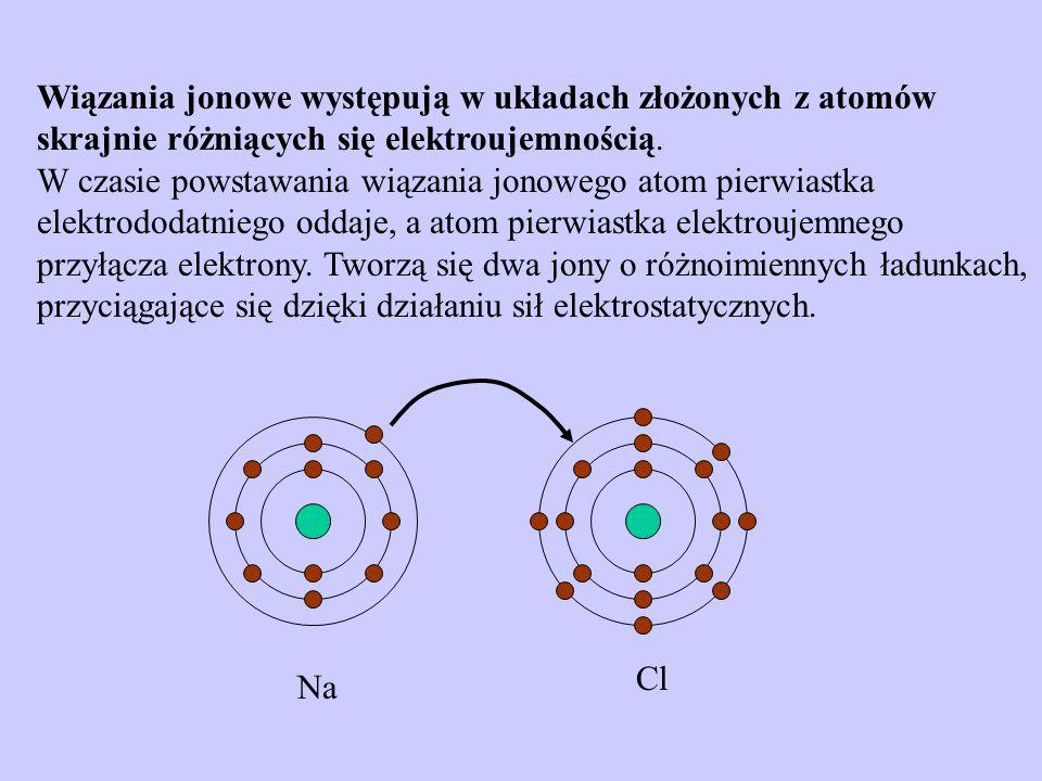 Wiązania jonowe występują w układach złożonych z atomów skrajnie różniących się elektroujemnością. W czasie powstawania wiązania jonowego atom pierwiastka elektrododatniego oddaje, a atom pierwiastka elektroujemnego przyłącza elektrony. Tworzą się dwa jony o różnoimiennych ładunkach, przyciągające się dzięki działaniu sił elektrostatycznych.