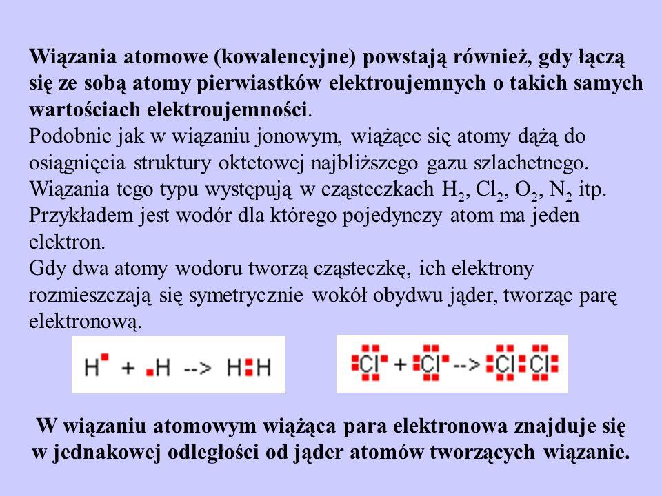 W wiązaniu atomowym wiążąca para elektronowa znajduje się