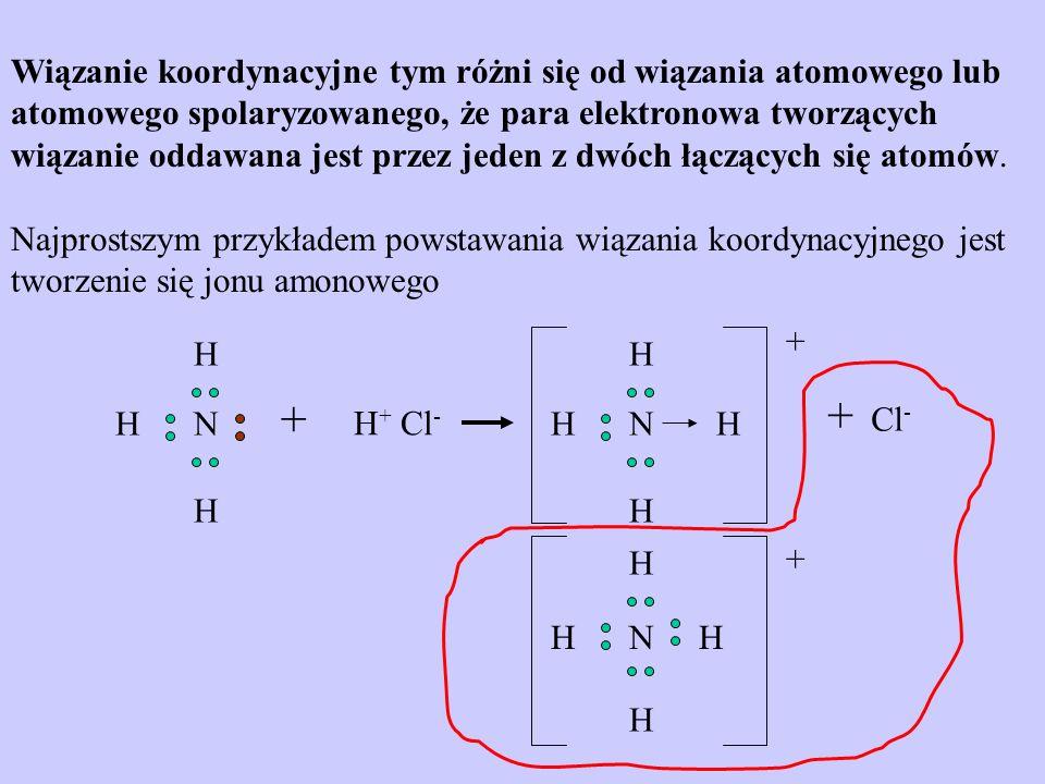 Wiązanie koordynacyjne tym różni się od wiązania atomowego lub atomowego spolaryzowanego, że para elektronowa tworzących wiązanie oddawana jest przez jeden z dwóch łączących się atomów.