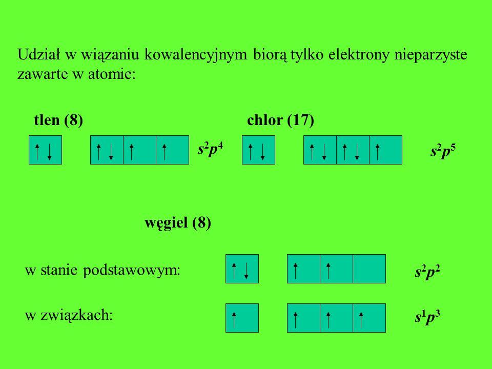Udział w wiązaniu kowalencyjnym biorą tylko elektrony nieparzyste