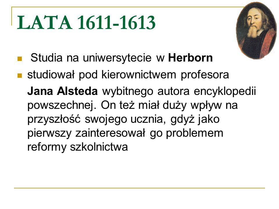 LATA 1611-1613 Studia na uniwersytecie w Herborn