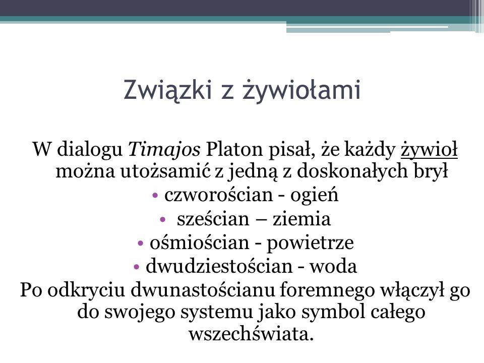 Związki z żywiołami W dialogu Timajos Platon pisał, że każdy żywioł można utożsamić z jedną z doskonałych brył.
