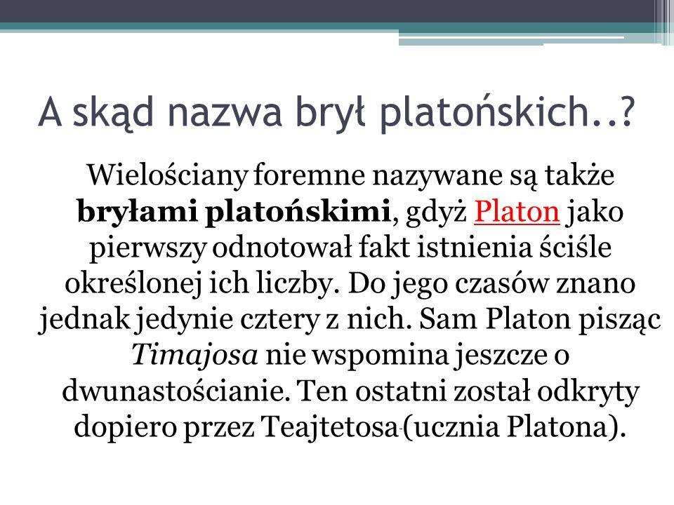 A skąd nazwa brył platońskich..