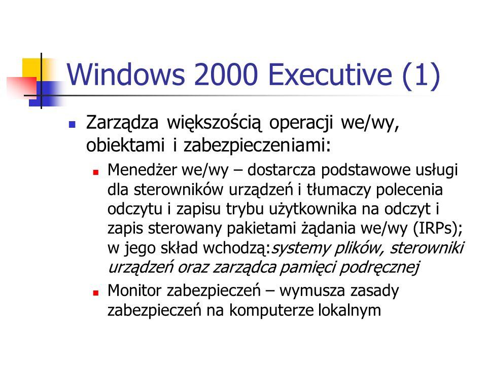 Windows 2000 Executive (1) Zarządza większością operacji we/wy, obiektami i zabezpieczeniami: