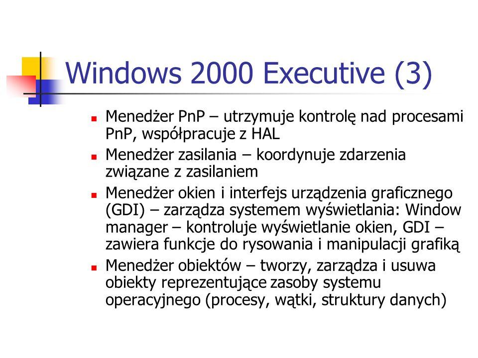 Windows 2000 Executive (3)Menedżer PnP – utrzymuje kontrolę nad procesami PnP, współpracuje z HAL.