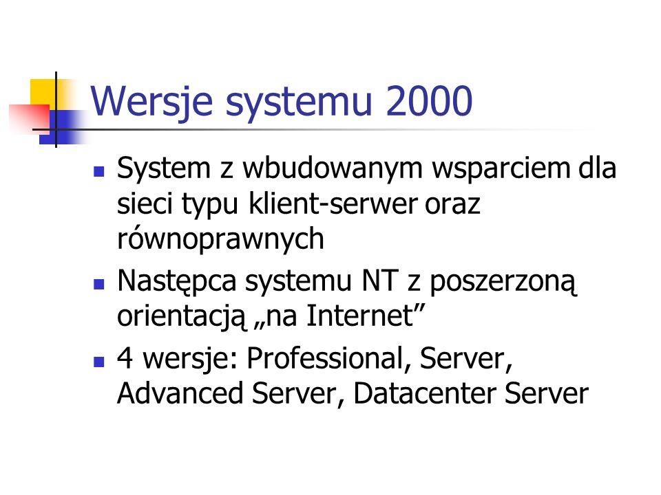 Wersje systemu 2000 System z wbudowanym wsparciem dla sieci typu klient-serwer oraz równoprawnych.