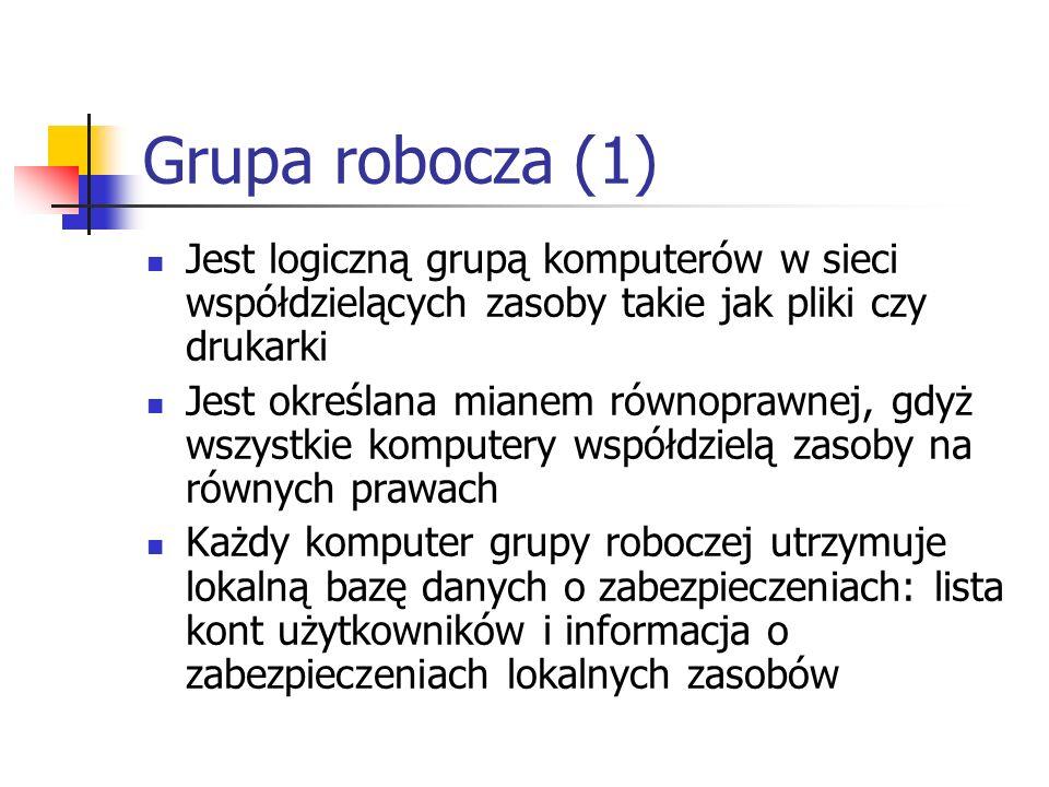 Grupa robocza (1) Jest logiczną grupą komputerów w sieci współdzielących zasoby takie jak pliki czy drukarki.