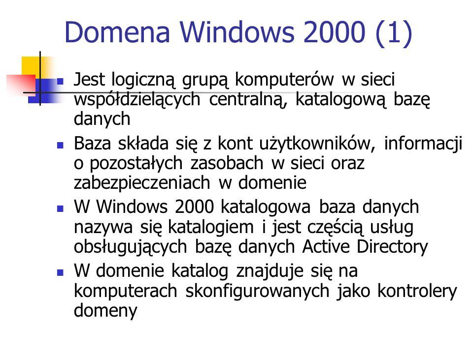 Domena Windows 2000 (1) Jest logiczną grupą komputerów w sieci współdzielących centralną, katalogową bazę danych.