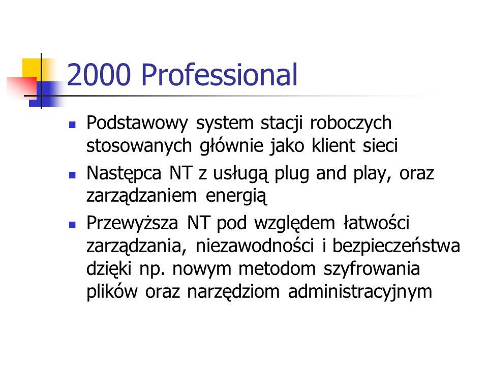 2000 Professional Podstawowy system stacji roboczych stosowanych głównie jako klient sieci.