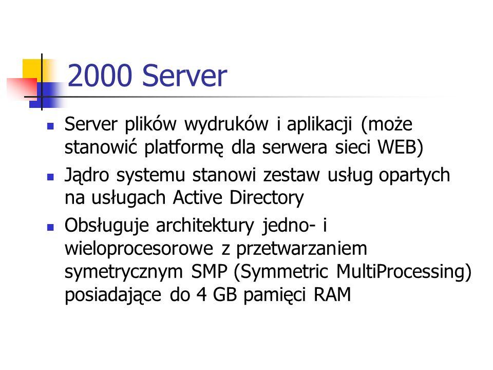 2000 Server Server plików wydruków i aplikacji (może stanowić platformę dla serwera sieci WEB)