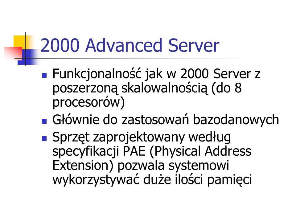 2000 Advanced ServerFunkcjonalność jak w 2000 Server z poszerzoną skalowalnością (do 8 procesorów) Głównie do zastosowań bazodanowych.