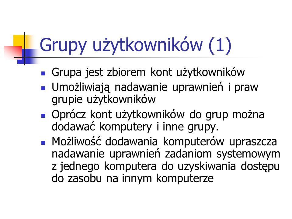Grupy użytkowników (1) Grupa jest zbiorem kont użytkowników