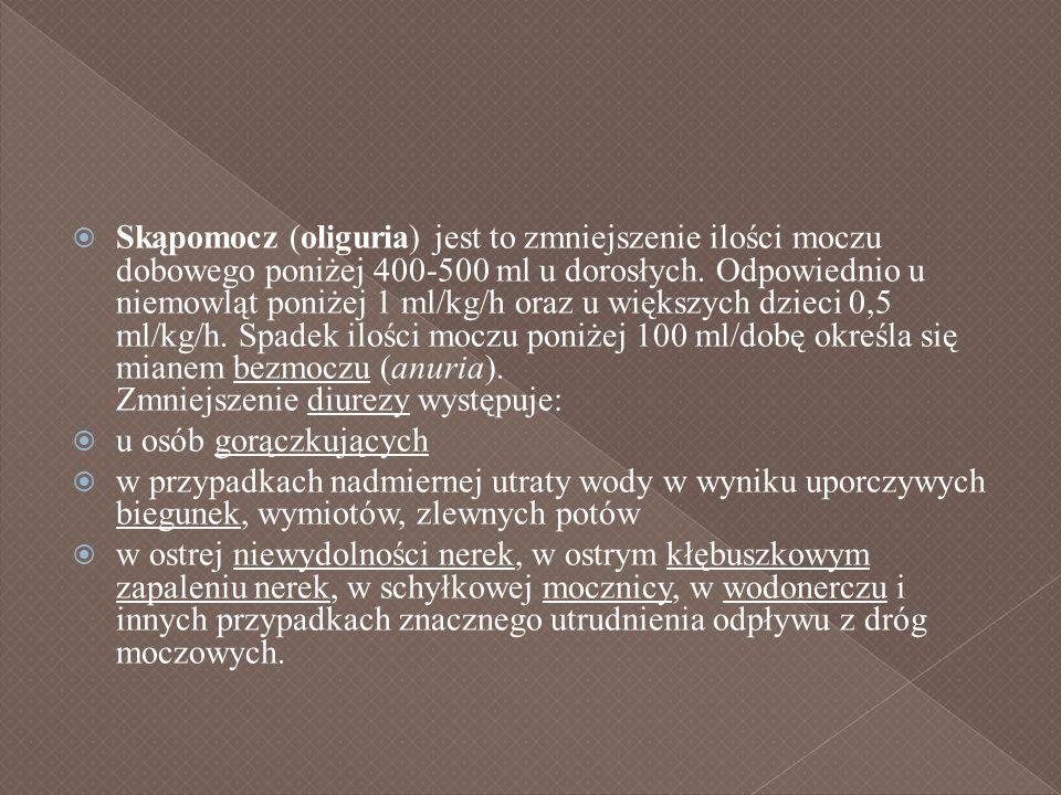 Skąpomocz (oliguria) jest to zmniejszenie ilości moczu dobowego poniżej 400-500 ml u dorosłych. Odpowiednio u niemowląt poniżej 1 ml/kg/h oraz u większych dzieci 0,5 ml/kg/h. Spadek ilości moczu poniżej 100 ml/dobę określa się mianem bezmoczu (anuria). Zmniejszenie diurezy występuje: