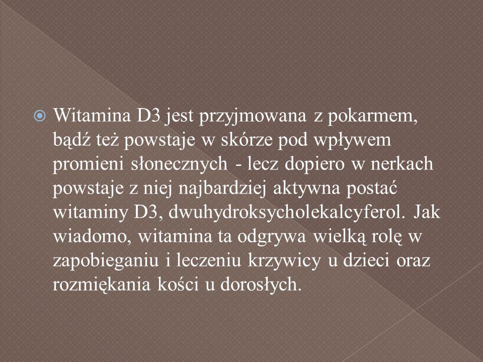 Witamina D3 jest przyjmowana z pokarmem, bądź też powstaje w skórze pod wpływem promieni słonecznych - lecz dopiero w nerkach powstaje z niej najbardziej aktywna postać witaminy D3, dwuhydroksycholekalcyferol.