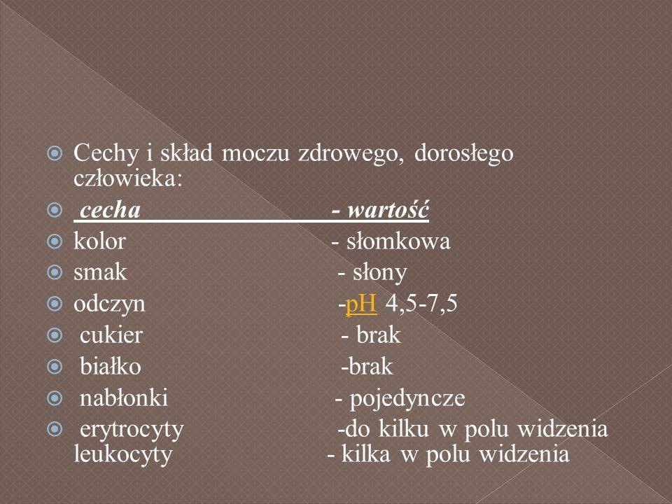 Cechy i skład moczu zdrowego, dorosłego człowieka: