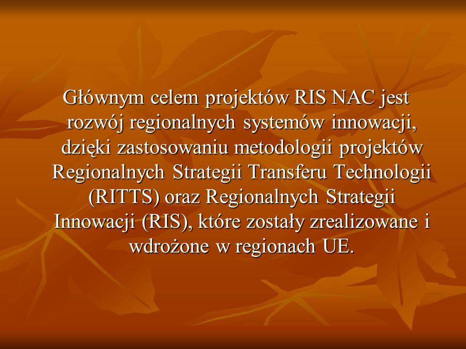 Głównym celem projektów RIS NAC jest rozwój regionalnych systemów innowacji, dzięki zastosowaniu metodologii projektów Regionalnych Strategii Transferu Technologii (RITTS) oraz Regionalnych Strategii Innowacji (RIS), które zostały zrealizowane i wdrożone w regionach UE.