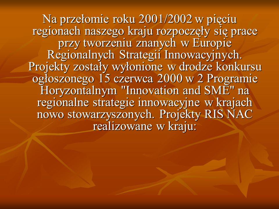 Na przełomie roku 2001/2002 w pięciu regionach naszego kraju rozpoczęły się prace przy tworzeniu znanych w Europie Regionalnych Strategii Innowacyjnych.