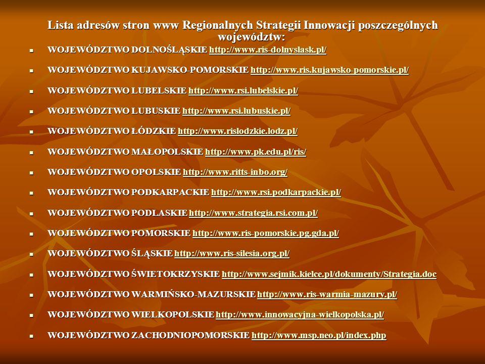 Lista adresów stron www Regionalnych Strategii Innowacji poszczególnych województw: