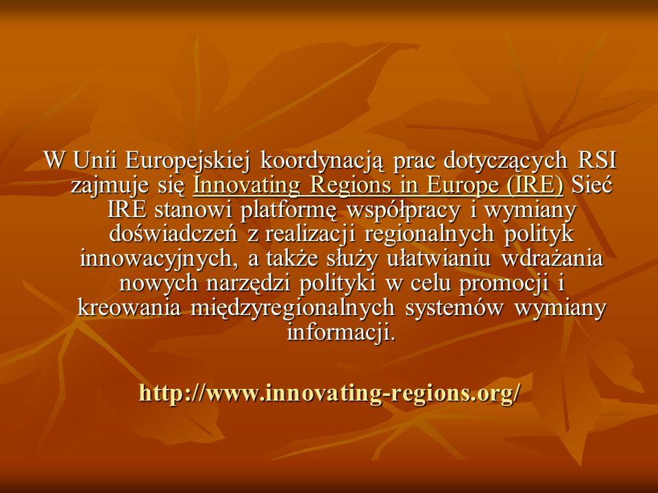 W Unii Europejskiej koordynacją prac dotyczących RSI zajmuje się Innovating Regions in Europe (IRE) Sieć IRE stanowi platformę współpracy i wymiany doświadczeń z realizacji regionalnych polityk innowacyjnych, a także służy ułatwianiu wdrażania nowych narzędzi polityki w celu promocji i kreowania międzyregionalnych systemów wymiany informacji.