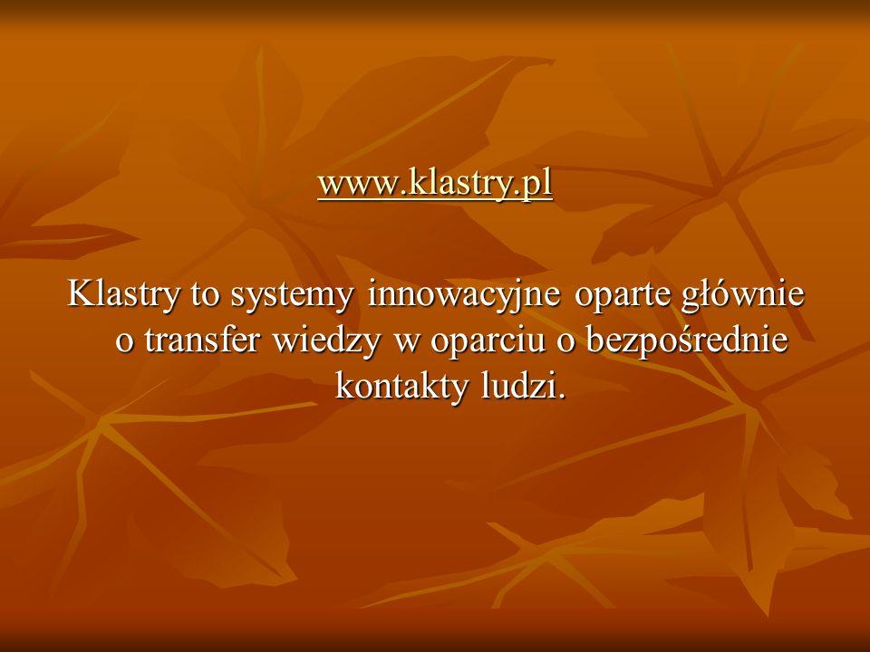 www.klastry.plKlastry to systemy innowacyjne oparte głównie o transfer wiedzy w oparciu o bezpośrednie kontakty ludzi.