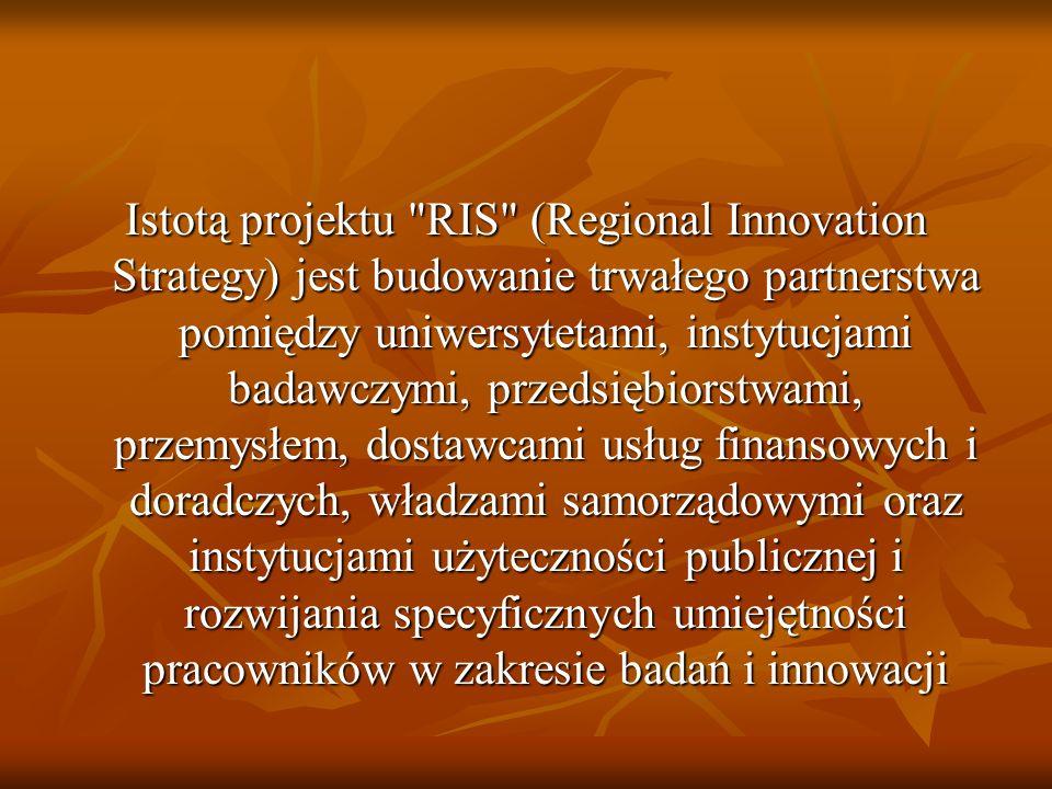 Istotą projektu RIS (Regional Innovation Strategy) jest budowanie trwałego partnerstwa pomiędzy uniwersytetami, instytucjami badawczymi, przedsiębiorstwami, przemysłem, dostawcami usług finansowych i doradczych, władzami samorządowymi oraz instytucjami użyteczności publicznej i rozwijania specyficznych umiejętności pracowników w zakresie badań i innowacji