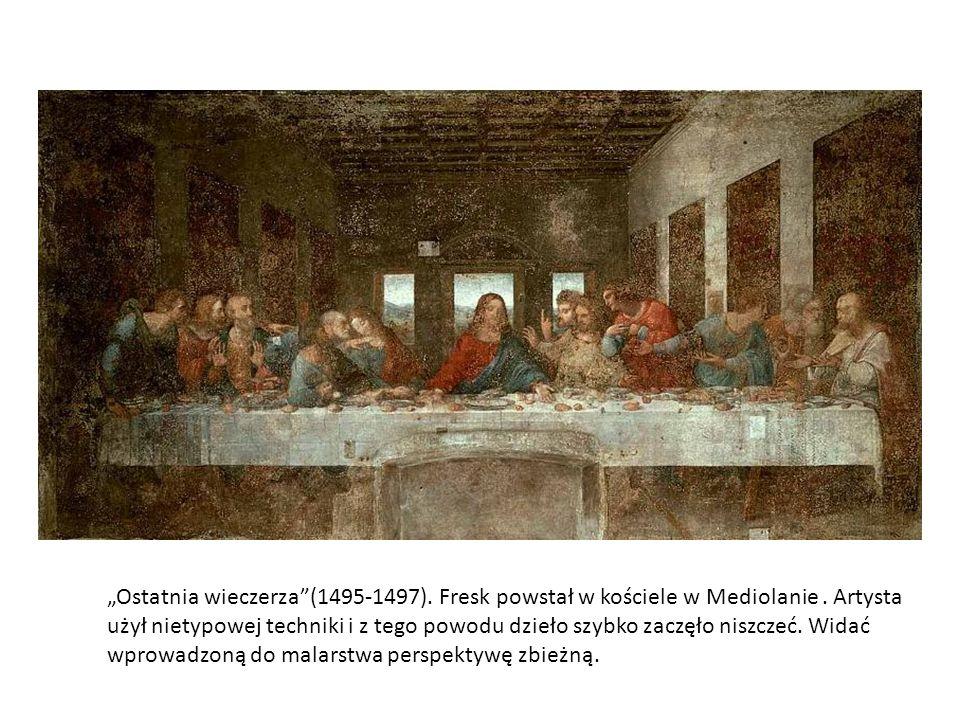 """""""Ostatnia wieczerza (1495-1497). Fresk powstał w kościele w Mediolanie"""