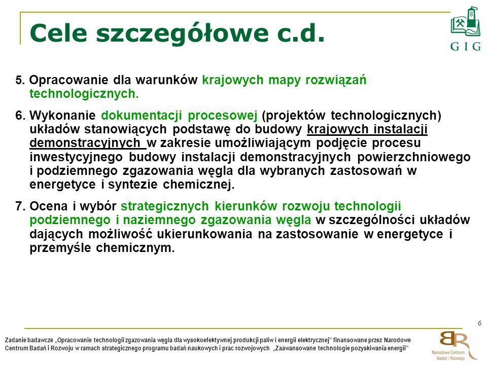 Cele szczegółowe c.d. 5. Opracowanie dla warunków krajowych mapy rozwiązań technologicznych.