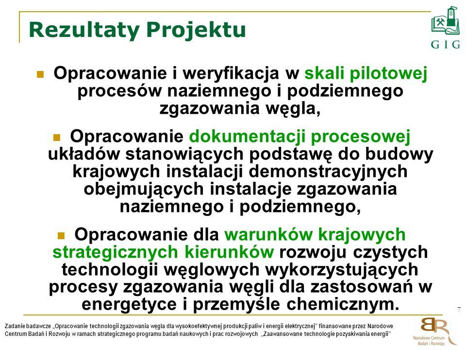 Rezultaty Projektu Opracowanie i weryfikacja w skali pilotowej procesów naziemnego i podziemnego zgazowania węgla,
