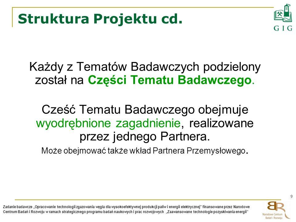 Struktura Projektu cd. Każdy z Tematów Badawczych podzielony został na Części Tematu Badawczego.