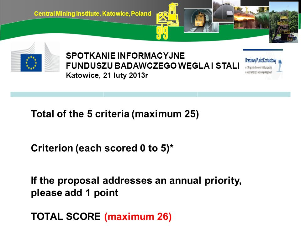 Total of the 5 criteria (maximum 25)
