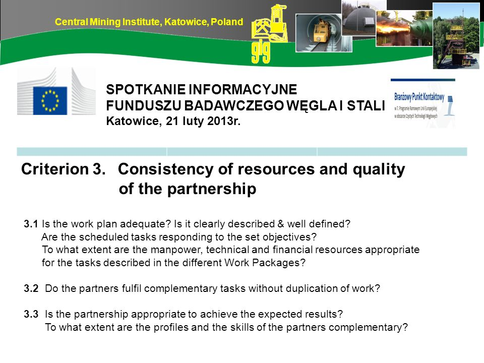 Criterion 3. Consistency of resources and quality of the partnership