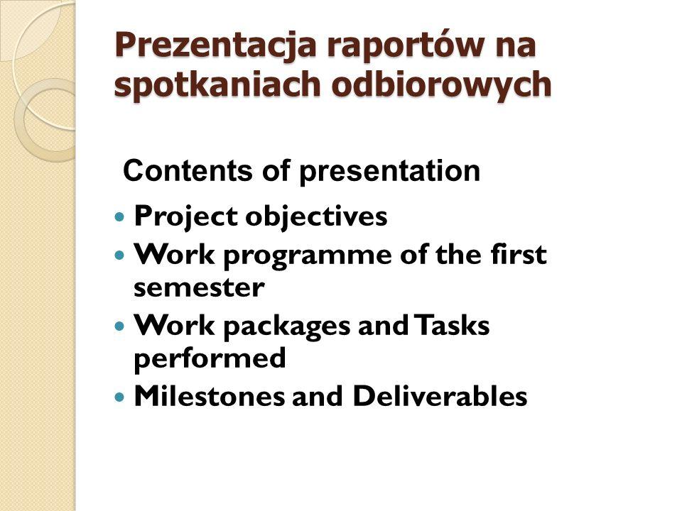 Prezentacja raportów na spotkaniach odbiorowych