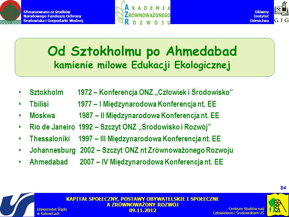 Od Sztokholmu po Ahmedabad kamienie milowe Edukacji Ekologicznej