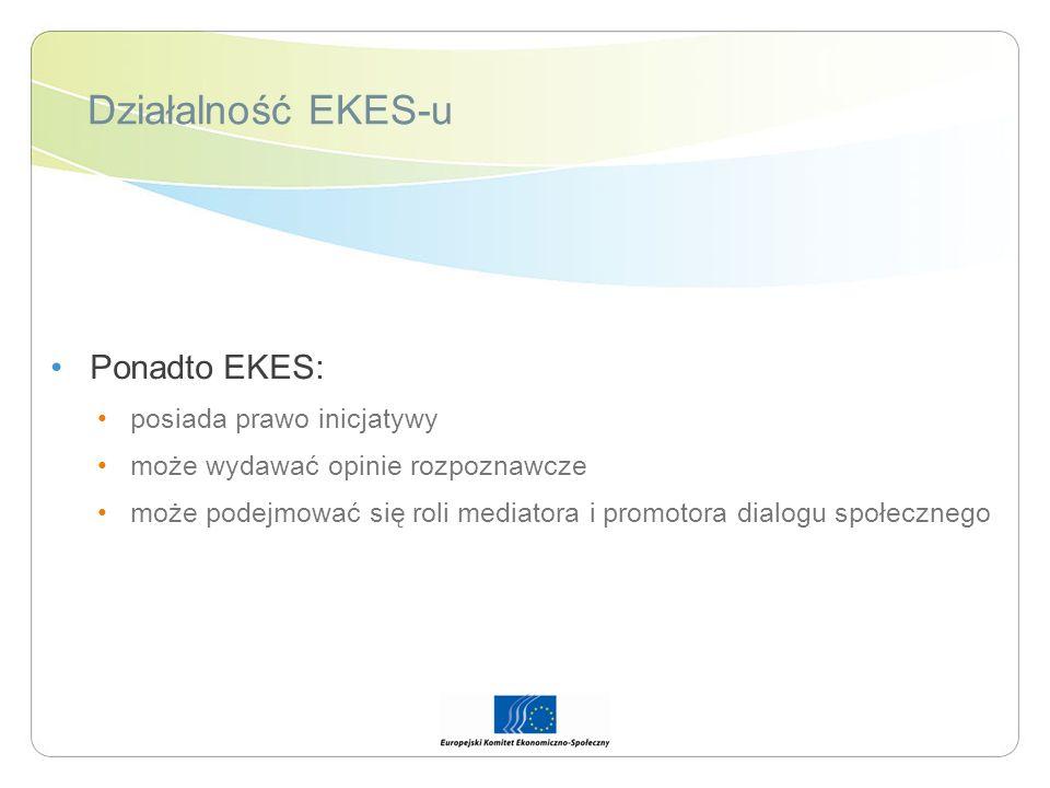 Działalność EKES-u Ponadto EKES: posiada prawo inicjatywy
