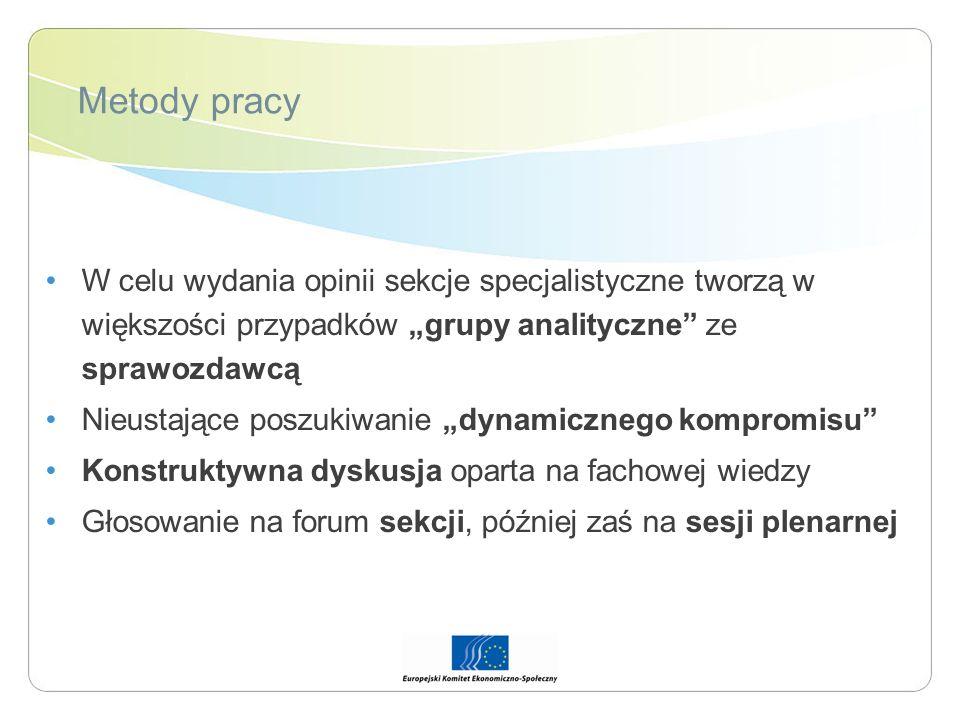 """Metody pracy W celu wydania opinii sekcje specjalistyczne tworzą w większości przypadków """"grupy analityczne ze sprawozdawcą."""