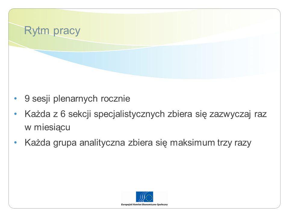 Rytm pracy 9 sesji plenarnych rocznie