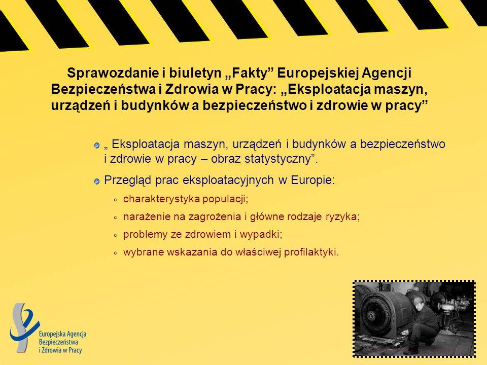 """Sprawozdanie i biuletyn """"Fakty Europejskiej Agencji Bezpieczeństwa i Zdrowia w Pracy: """"Eksploatacja maszyn, urządzeń i budynków a bezpieczeństwo i zdrowie w pracy"""