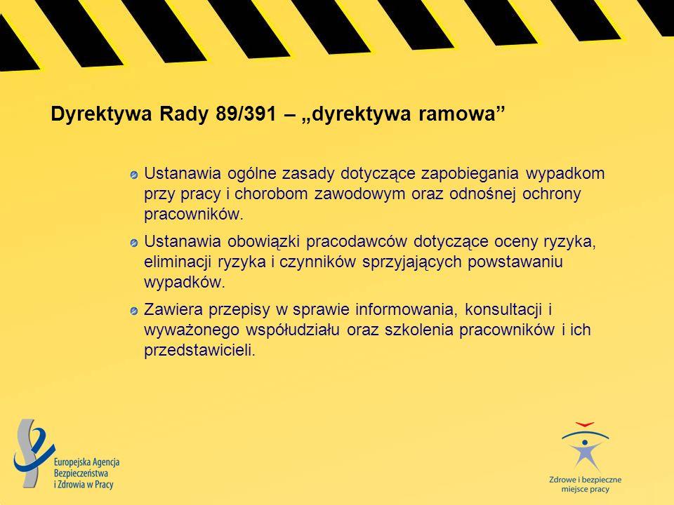 """Dyrektywa Rady 89/391 – """"dyrektywa ramowa"""