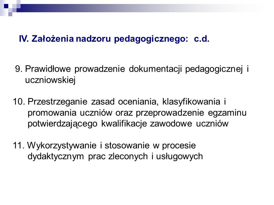 IV. Założenia nadzoru pedagogicznego: c.d.