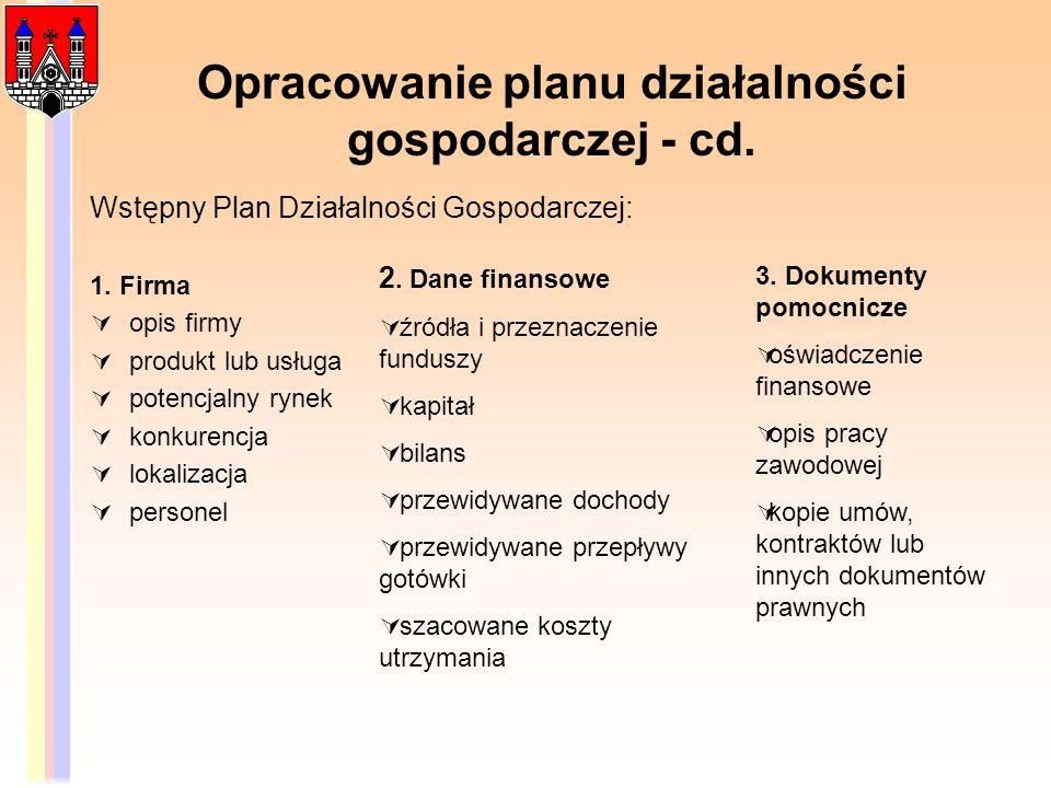Opracowanie planu działalności gospodarczej - cd.