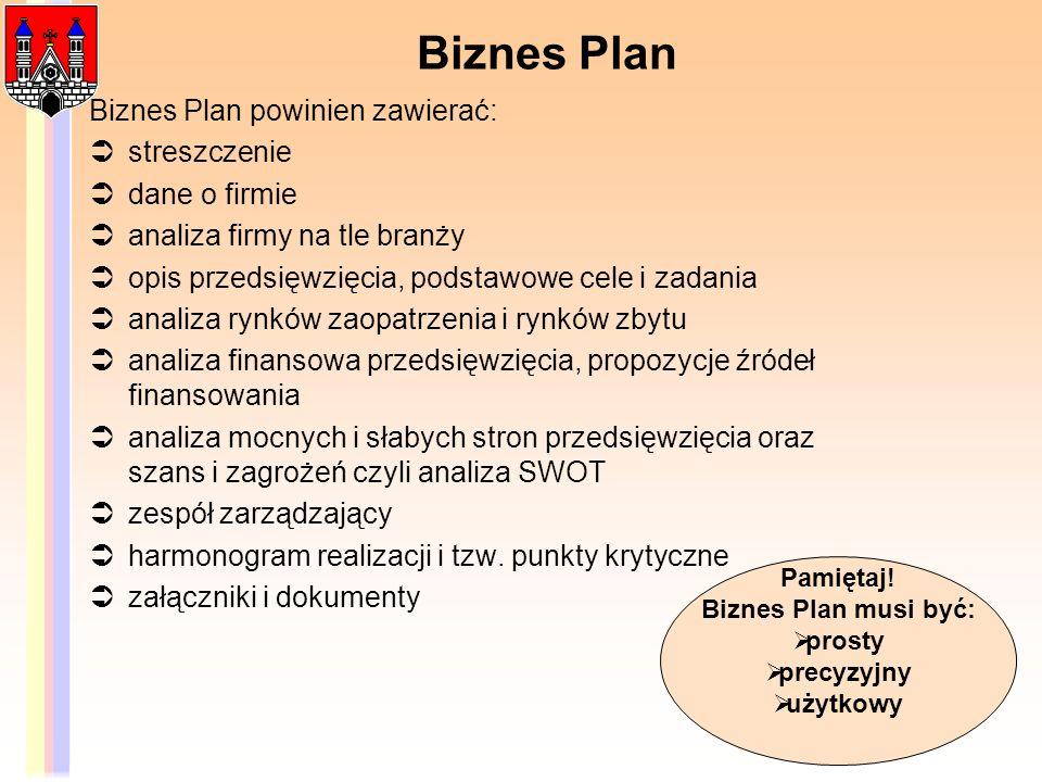 Biznes Plan Biznes Plan powinien zawierać: streszczenie dane o firmie