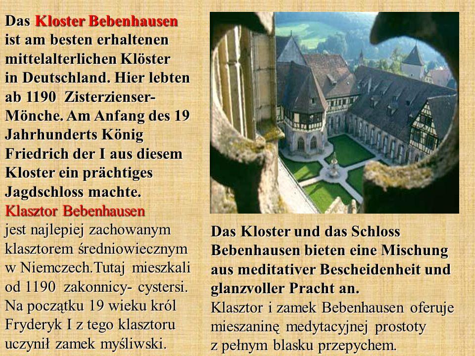Das Kloster Bebenhausen ist am besten erhaltenen mittelalterlichen Klöster in Deutschland. Hier lebten ab 1190 Zisterzienser-Mönche. Am Anfang des 19 Jahrhunderts König Friedrich der I aus diesem Kloster ein prächtiges Jagdschloss machte. Klasztor Bebenhausen jest najlepiej zachowanym klasztorem średniowiecznym w Niemczech.Tutaj mieszkali od 1190 zakonnicy- cystersi. Na początku 19 wieku król Fryderyk I z tego klasztoru uczynił zamek myśliwski.