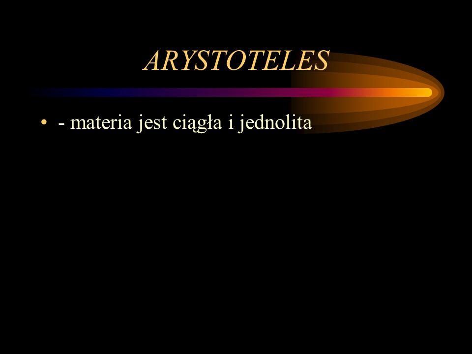 ARYSTOTELES - materia jest ciągła i jednolita